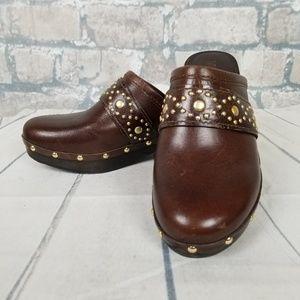 Michael Kors Leather Mule Clog Sz 6M Brown
